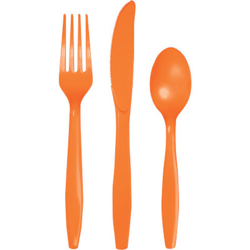 Pack of 288 Sunkissed Orange Premium Heavy-Duty Plastic Party Knives, Forks and