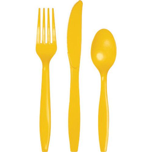 School Bus Yellow Cutlery Heavy Duty Cutlery Assortment 144ct