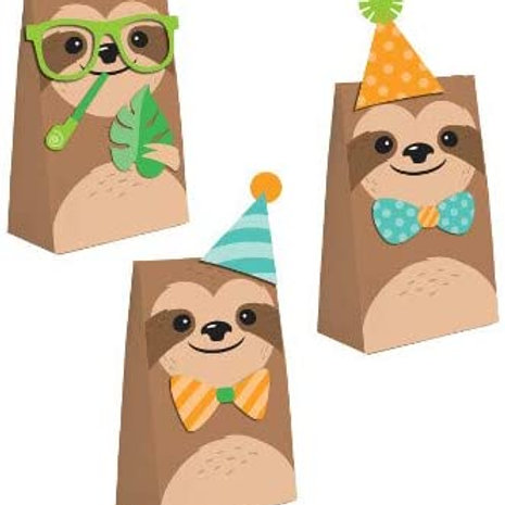Sloth Birthday Party Supplies, Baby Sloth Party Printed 3 Design Paper Favor Bag
