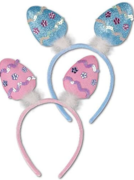 Club Pack of 12 Blue and Pink Easter Egg Bopper Headbands Costume Accessories