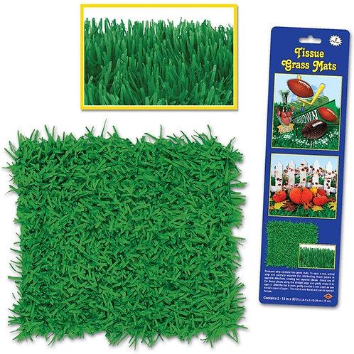 """Club Pack of 24 Novelty Green Tissue Grass Mats 30"""""""