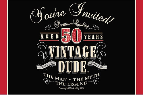 """Pack of 48 Vintage Dude 50th Birthday Party Gatefold Paper Invitations 6"""""""