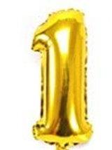 Gold metallic number 1 balloon, 34in tall