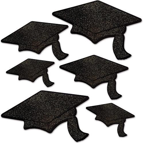 Black Glitter Foil Grad Cap Cutouts