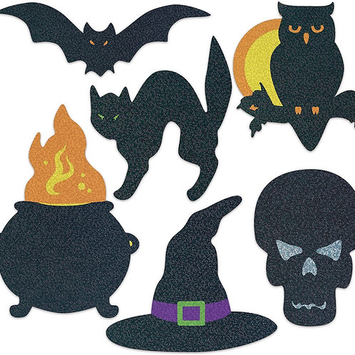 Beistle Club Pack of 72 Assorted Double Sided Silhouette Glitter Halloween Cuto