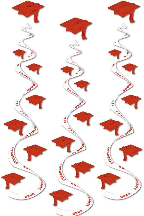 """Club Pack of 18 Printed Red """"Congrats Grad"""" Hanging Whirl Decorations 30"""""""