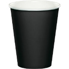 Club Pack of 240 Jet Black Disposable Paper Hot and Cold Party Tumbler Cups 9 oz