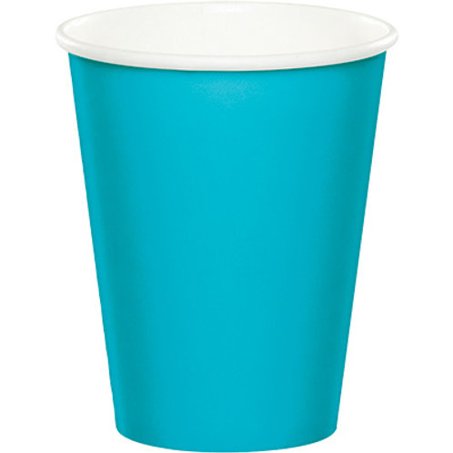 Club Pack of 240 Bermuda Blue Disposable Paper Hot and Cold Party Tumbler Cups