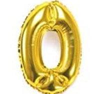 Gold metallic number 0 balloon, 34in tall