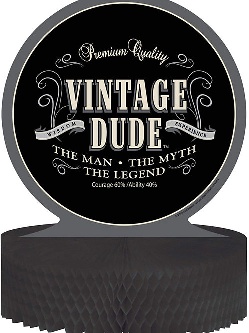 Pack 12 Black Vintage Dude Honeycomb Birthday Party Centerpiece Decorations 11.5