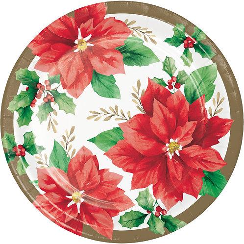 Creative Converting Elegant Poinsettia, 7 Inch Round Paper Plates, Box of 96