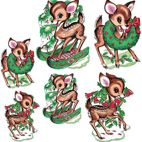 Beistle Vintage Christmas Party Decorative Reindeer Cutouts (6/Pkg) - 12 Pack