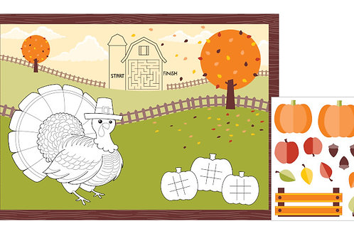Autumn and Thanksgiving Decor, Activity Placemat for Kids, Box of 96