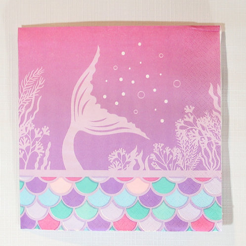 Luncheon Napkin mermaid tail, scales, pink, teal