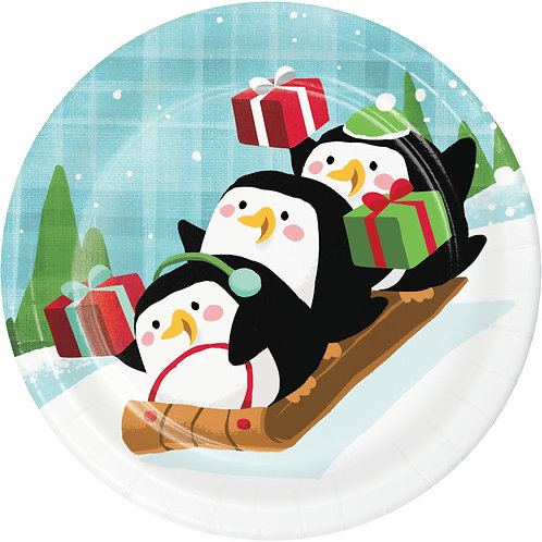 Creative Converting Santa and Penguins, 7 Inch Round Paper Plates, Box of 96