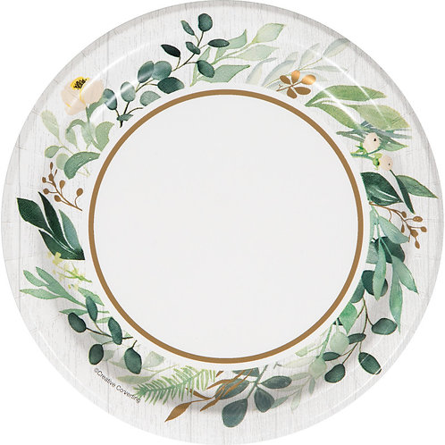 Creative Converting Eucalyptus Greens, 7 Inch Round Paper Plates, Box of 96