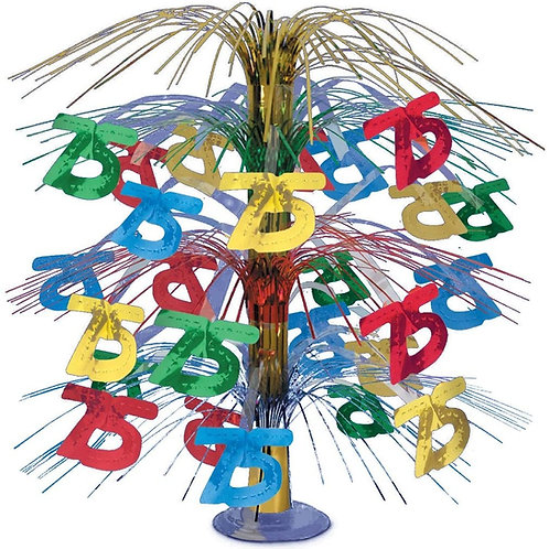 """Pack of 6 Multi-Colored Happy """"75th"""" Birthday Party Cascading Table Centerpiece"""