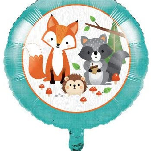 Woodland Animal Creatures Party Supplies, Wild One Birthday Printed Mylar Ballo