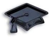 Graduation Theme Decorations, Black Molded Plastic Serving Tray Grad Cap Shape,