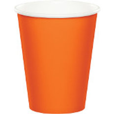 Club Pack of 240 Sunkissed Orange Disposable Paper Hot and Cold Party Tumbler C
