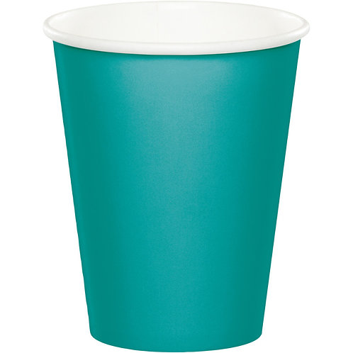Creative Converting Club Pack Solid Color Teal Lagoon 9oz Paper Hot/Cold Cups,