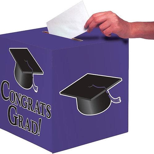 "Club Pack of 6 Purple Congrats Grad Decorative Graduation Party Card Boxes 9"""