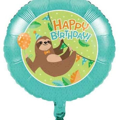 Sloth Birthday Party Supplies, Baby Sloth Birthday Party Printed Mylar 18 Inch B