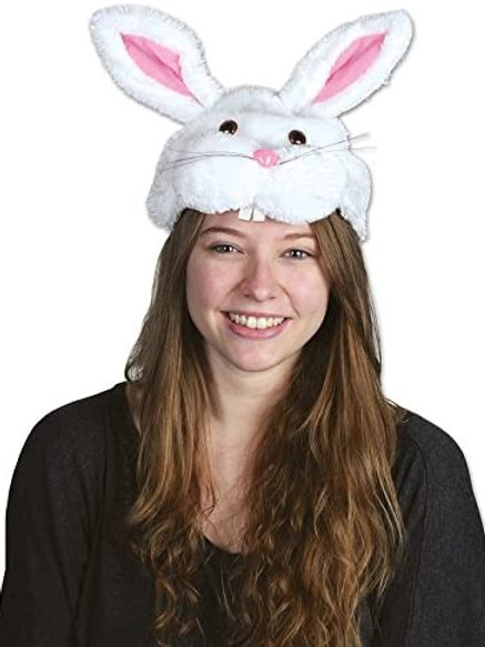 Pack of 12 Plush Bunny Head Hat Easter Costume Accessories