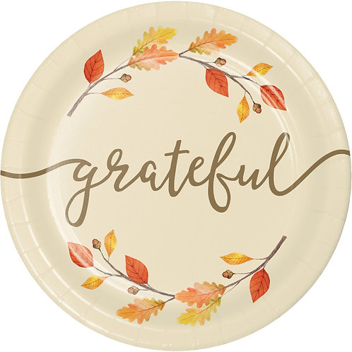 Creative Converting Thankful Design, 7 Inch Round Paper Plates, Box of 96