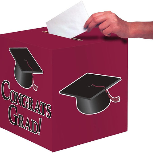 "Club Pack of 6 Burgundy Congrats Grad Decorative Graduation Party Card Boxes 9"""
