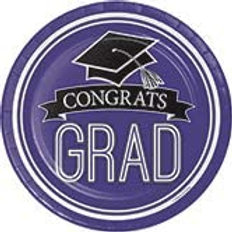 Graduation School Spirit Purple Color Printed 7in Round Paper Plates, Box of 180