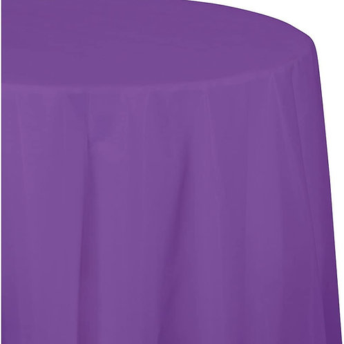 12-Count Octy-Round Plastic Table Covers, 82-Inch, Amethyst