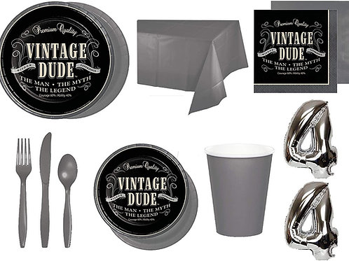 Baxters Party Bundle Bulk, Vintage Dude Any Birthday Stacked 32 People, 2 Size