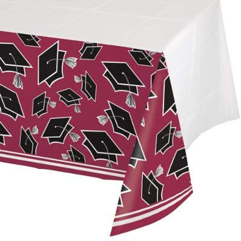 Graduation School Spirit Burgundy Color Printed Plastic Tablecover 54in x 102in,