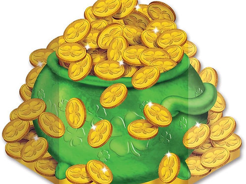 Pack of 6 St Patrick's Day Pot-O-Gold Stand-up Cutout Decorations 3.5'