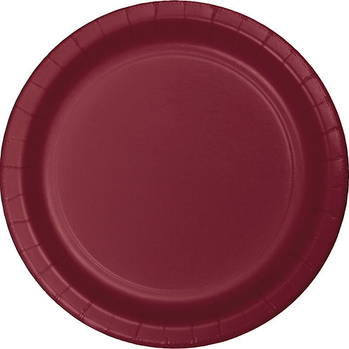 """Club Pack of 240 Burgundy Disposable Paper Party Luncheon Plates 7"""""""