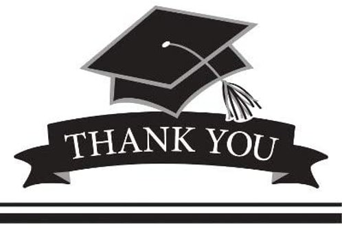 Graduation School Spirit White Color Printed Party Thank You, Box of 75 Party Th