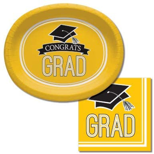 Graduation Party Supplies, Yellow Color Oval Platter and Luncheo