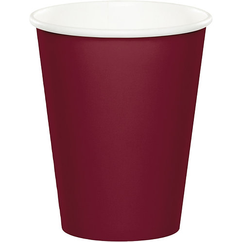 Creative Converting Club Pack Solid Color Burgundy 9oz Paper Hot/Cold Cups, B