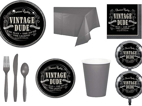 Baxters Party Bundle Bulk, Vintage Dude Any Birthday Supplies 16 People, 2 Size