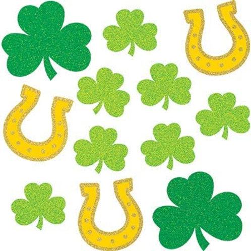 Creative Converting Club Pack St. Patrick's Day Holiday Assorted Glitter Shaped