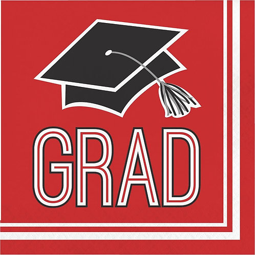 360 Count School Spirit Paper Lunch Napkins for Graduation Party, Classic Red