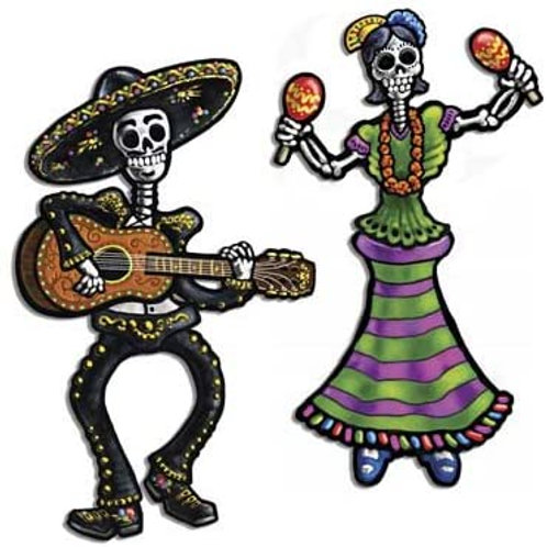 Beistle Club Pack of 24 Jointed Day of The Dead Skeleton Figure Halloween Hangi