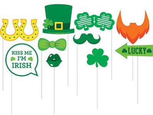 St. Patrick's Day Holiday Assorted Party Photo Fun Props, Box 60 Photo Props