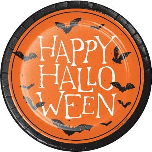 Halloween Party Decorations, Happy Halloween Theme Printed 7 Inch Round Paper Pl