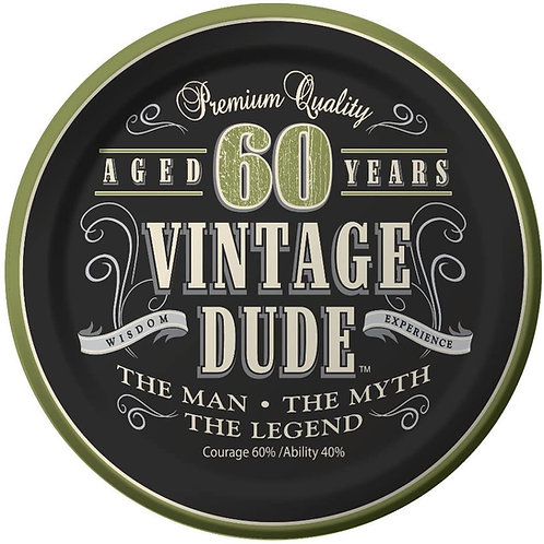"""Club Pack of 96 Vintage Dude """"60 Years"""" Disposable Paper Party Lunch Plates 7"""""""