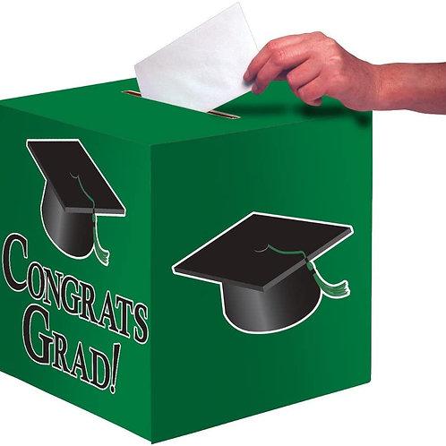 Club Pack of 6 Emerald Green Congrats Grad Decorative Graduation Party Card Box