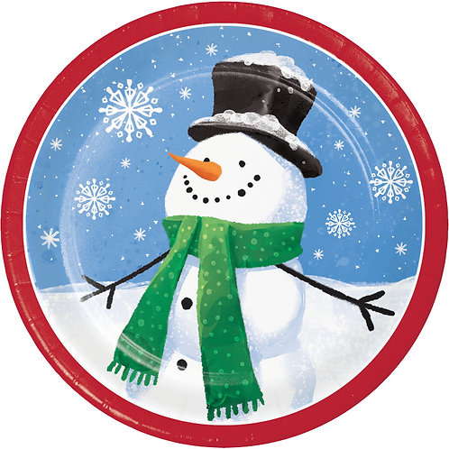 Creative Converting Smiling Snowmen, 7 Inch Round Paper Plates, Box of 96