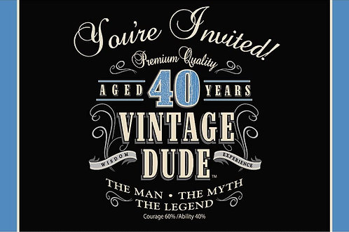 """Pack of 48 Vintage Dude 40th Birthday Party Gatefold Paper Invitations 6"""""""