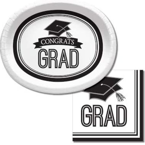 Baxters Bundle Graduation Party Supplies, White Color Oval Platter and Luncheon